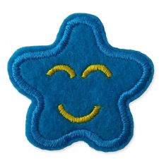 BLUE SMILING STAR MOTIF IRON ON EMBROIDERED PATCH APPLIQUE